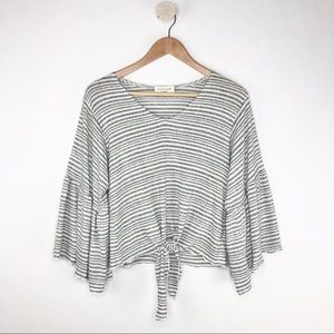 Lavender Field Gray Striped Front Tie Knit Top S